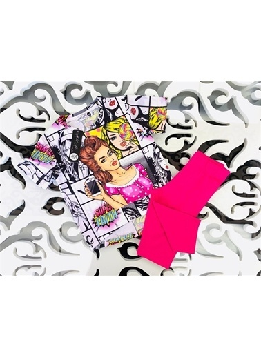 Hilal Akıncı Kids Kiz Çocuk Yeah Model T-Shirt Renklı Tayt Ikılı Takim Fuşya